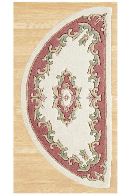 ROYAL  AUBUSSON CREAM ROSE HALF MOON RUG