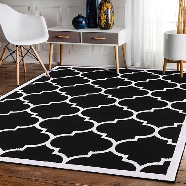Trendy With Border Black Modern Rug