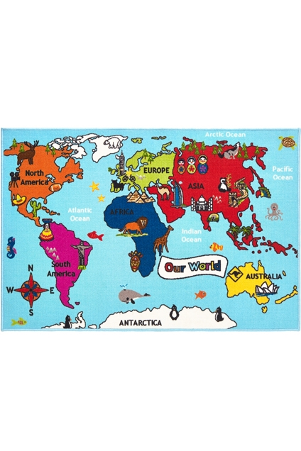 BAMBINO Kids Rugs World Map 100 X 150cm Size