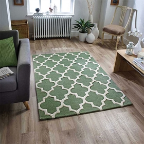 Arabesque Sage Green Wool Rug