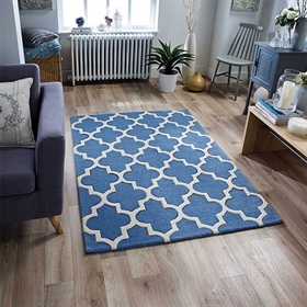 Arabesque Denim Blue Wool Rugs