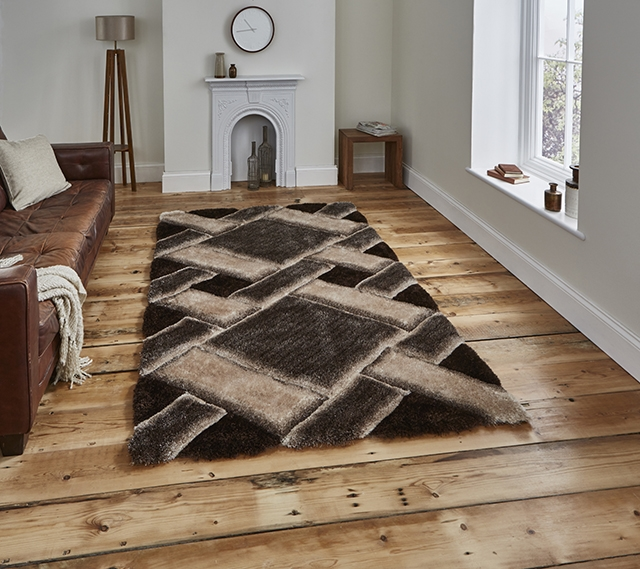 Noble House NH9716 Beige/Brown Shaggy Rug