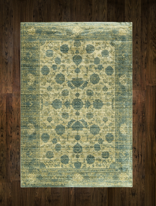 AQUA SILK E414a D Yellow Blue Rug