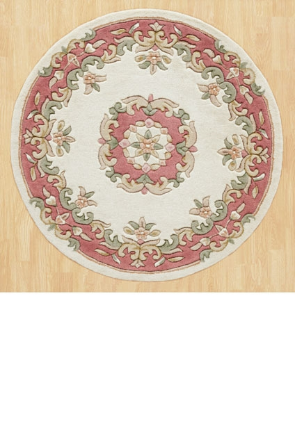 ROYAL  AUBUSSON CREAM ROSE CIRCLE RUG