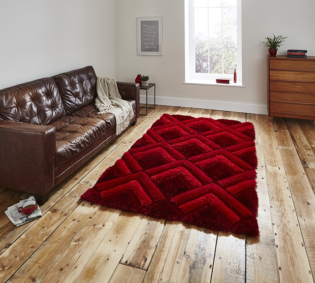 Noble House NH8199 Red Shaggy Rug