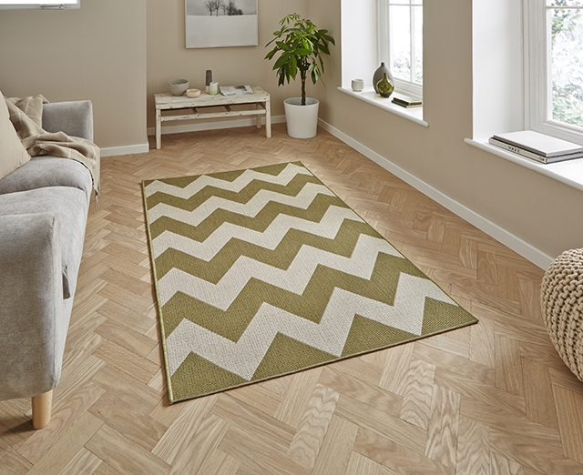 Cottage CT5191 Green Flatweave Rugs