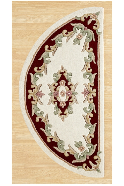 ROYAL  AUBUSSON CREAM RED HALF MOON RUG
