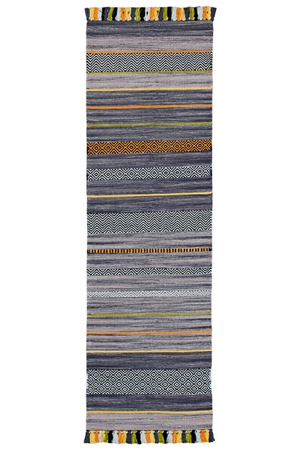 KELIM STRIPES CHARCOAL RUNNER