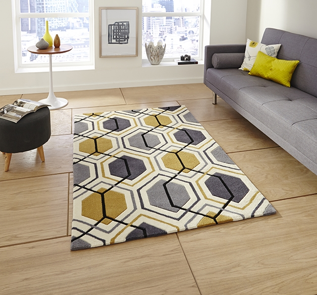 Hong Kong 7526 Grey/Yellow Rugs