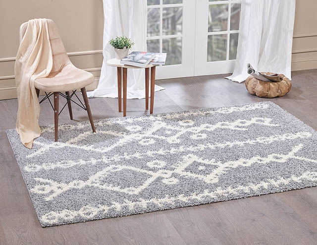 Moroccan-5532 light Grey & Ivory Shaggy Rug