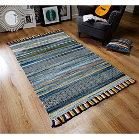 KELIM STRIPES BLUE WOOL RUG