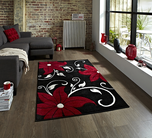 Verona OC15 Black/Red Rug