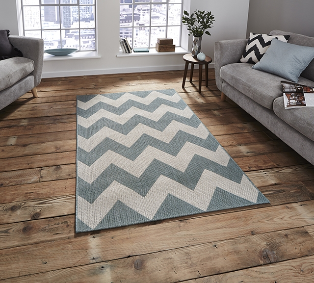 Cottage CT5191 Blue Flatweave Rugs