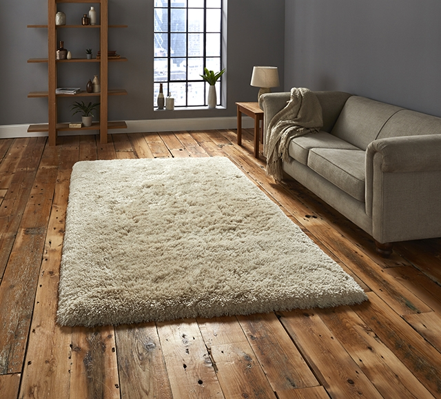 Polar PL 95 Cream Shaggy Rug