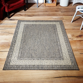 Greek key flatweave anti slip Grey Rugs