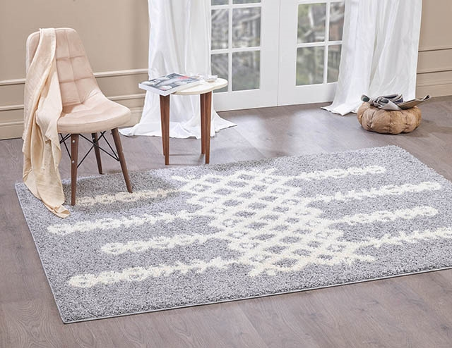 Moroccan-5533 light Grey & Ivory Shaggy Rug