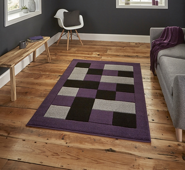 Matrix MT04 Grey/Purple Rug