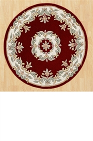ROYAL  AUBUSSON RED CIRCLE RUG