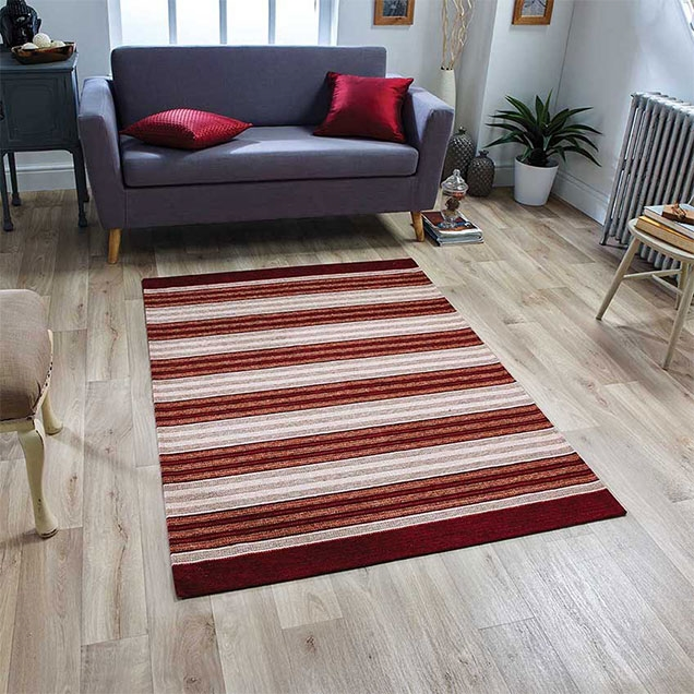 Pacific 182 X Anti slip Red Rug