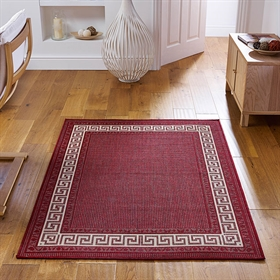Greek key flatweave anti slip Red Rugs