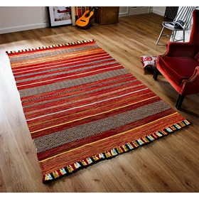 KELIM STRIPES RED WOOL  RUG