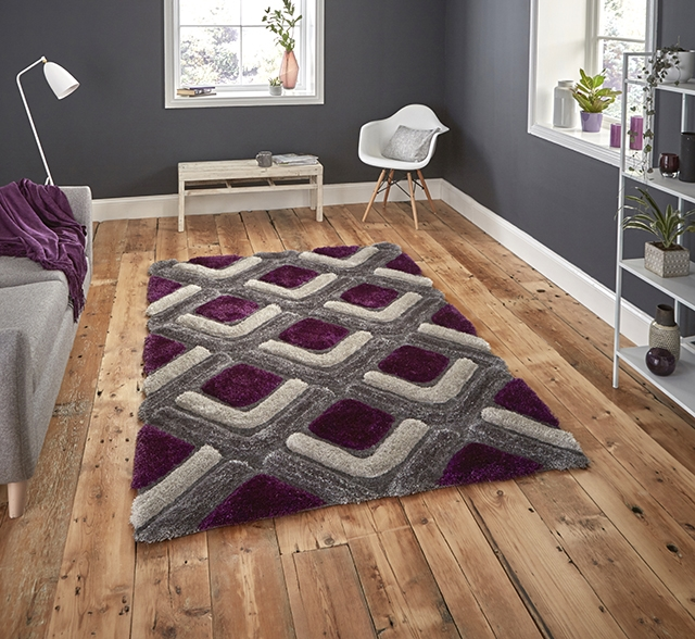 Noble House NH8199 Grey/Purple Shaggy Rug