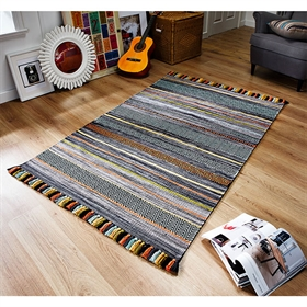 KELIM STRIPES CHARCOAL WOOL RUG