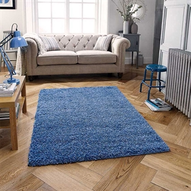 HARMONY Denim Blue Shaggy Rug
