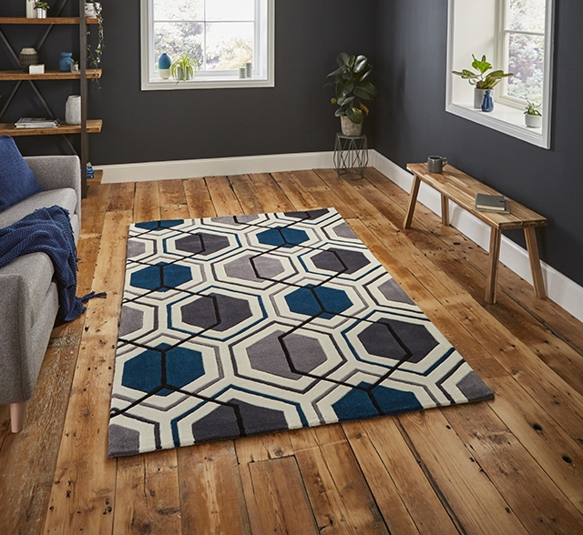 Hong Kong 7526 Grey/Navy Rugs