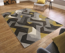 HAND CARVED AURORA GREY/ OCHRE RUG