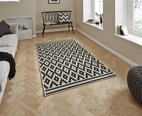 Cottage CT5581 Wool Black Flatweave Rugs