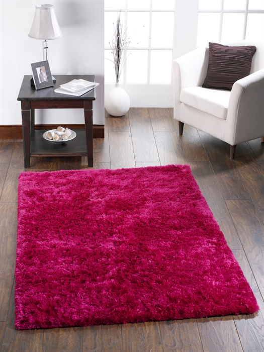 Shimmer Pink Shaggy Rug