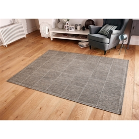 CHECK-FLAT-WEAVE GREY RUG