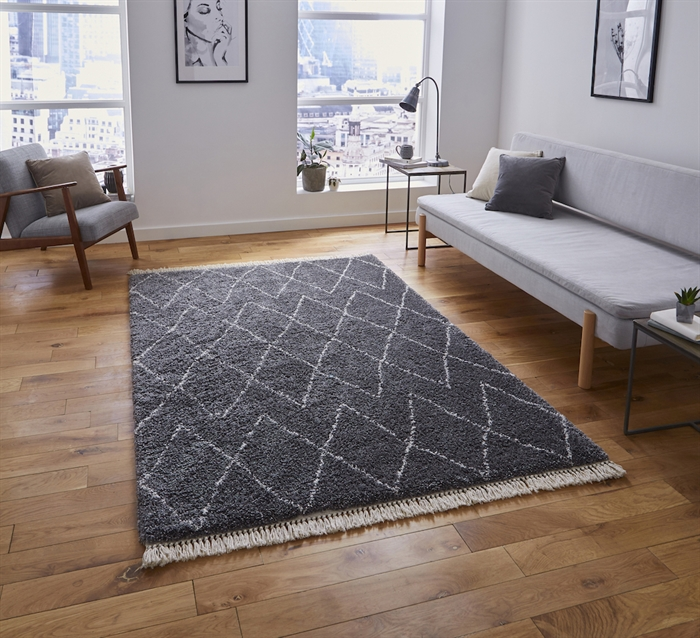 Boho 8280 Grey  Shaggy Rugs