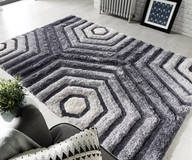 Verge Hexagon Grey Shaggy  Rugs
