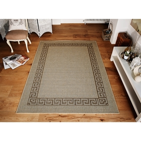 Greek key flatweave anti slip Beige Rugs