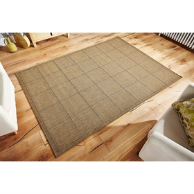 CHECK-FLAT-WEAVE NATURAL RUG