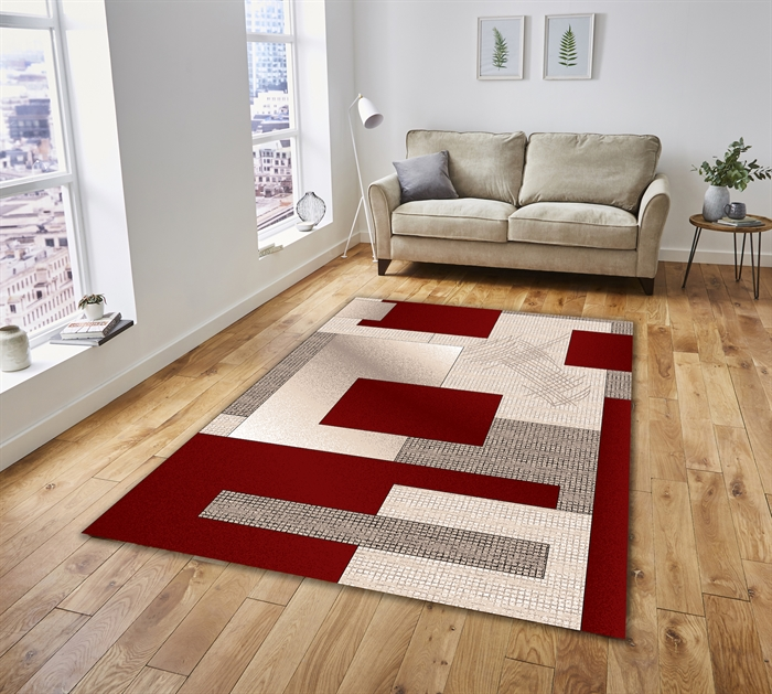 Lux Red Modern Rug