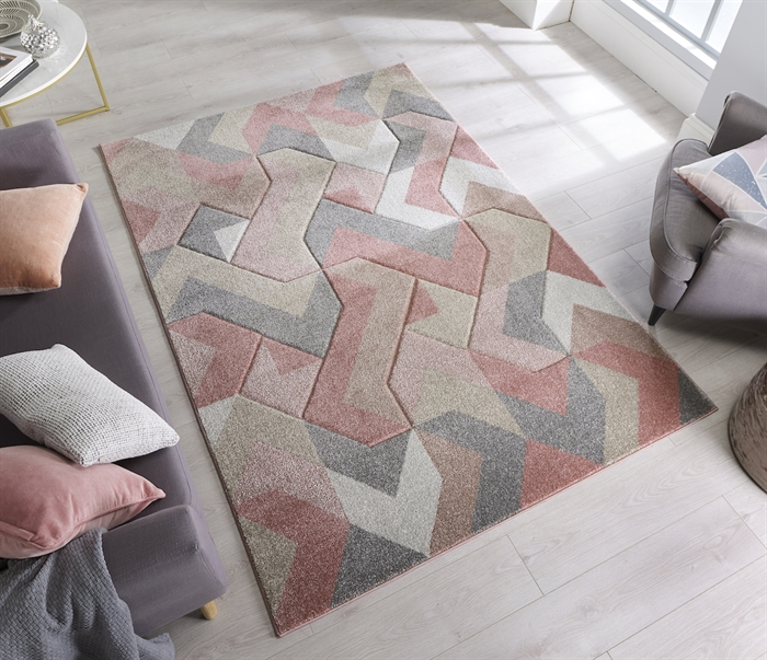 Hand Carved Aurora Dusky pink Rugs
