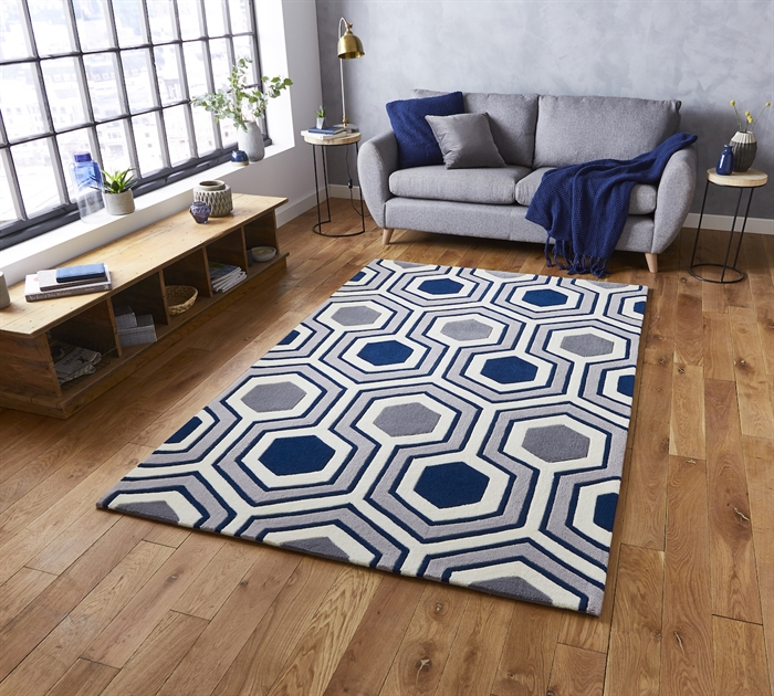Hong Kong 3661 Grey Navy   Rugs