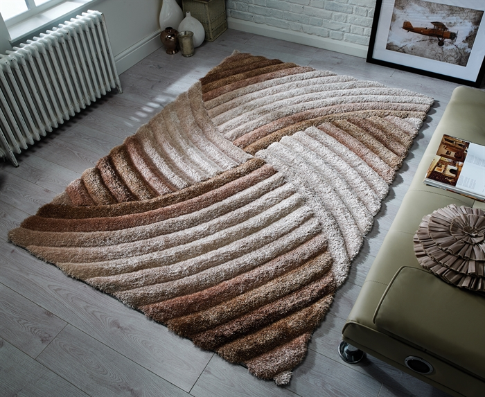Verge Furrow Natural Shaggy Rugs