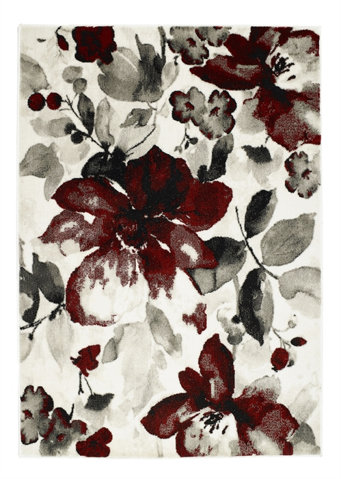 Watercolour Floral Red Rug