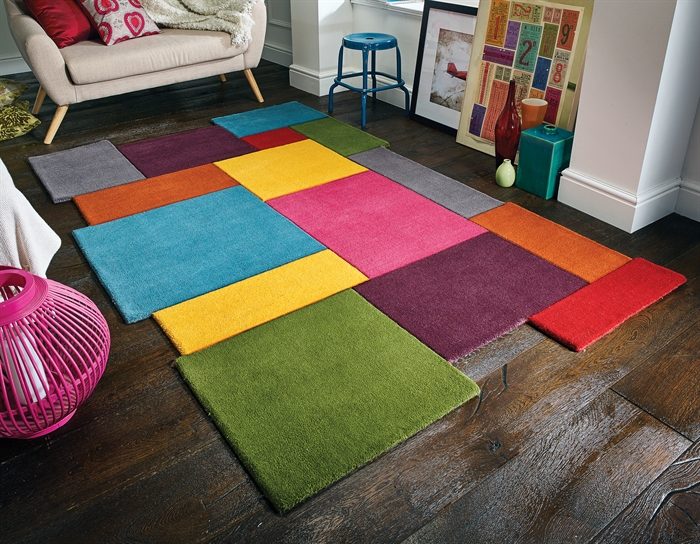 ABSTRACT COLLAGE MULTI WOOL RUGS