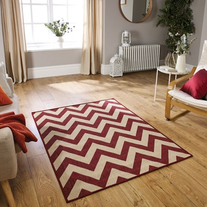 Mode Flat Weave Chevron Red Rugs