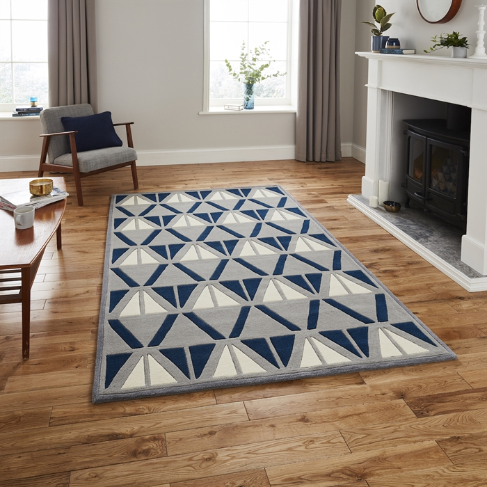 Hong Kong 1374 Grey/Navy Rug