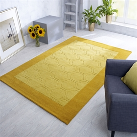 Hex  Mustard Wool Rugs