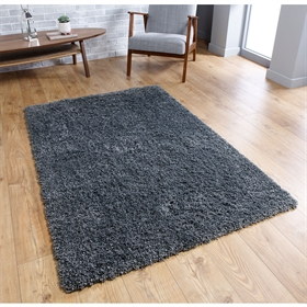 Isla Charcoal Plain Shaggy Rug