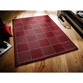 CHECK-FLAT-WEAVE RED Rug