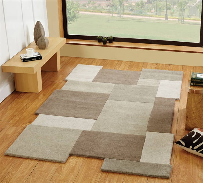 ABSTRACT COLLAGE BEIGE WOOL RUGS