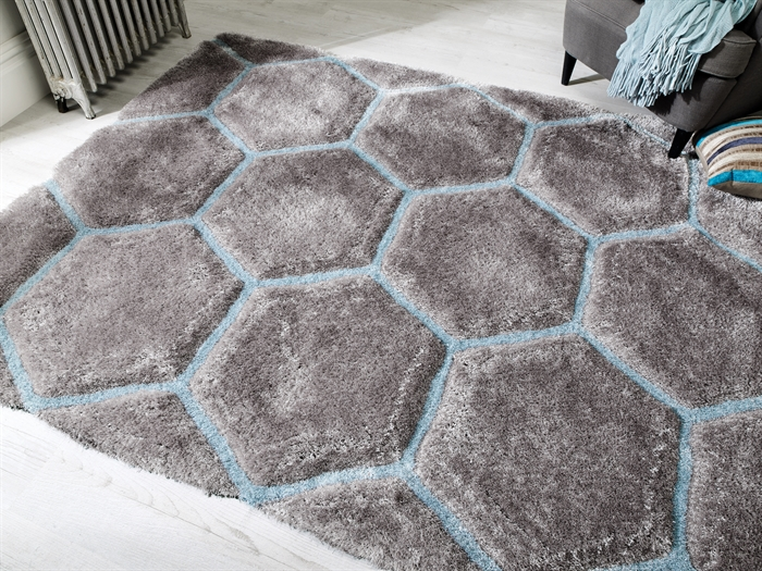 Verge Honeycomb Grey Duck Egg Shaggy Rugs